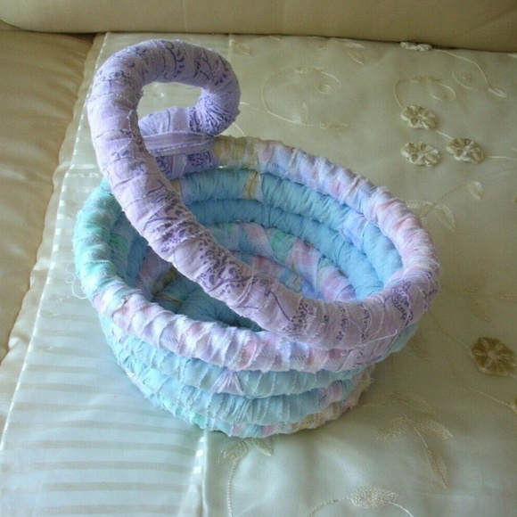 ❤️Purple & Blue Cotton Woven Coiled Rope Basket